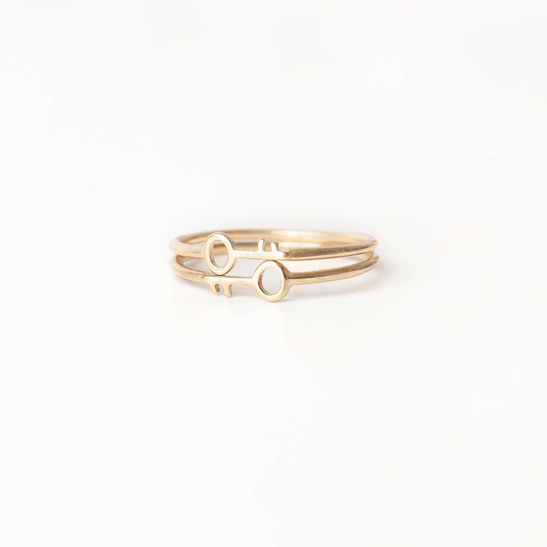 Key Ring 2 Ring Set Dainty Ring Delicate Gold Ring Simple image 0