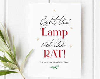 Muppet Christmas Carol Inspired Card | Light the Lamp not the Rat! Funny Christmas Card | Christmas Cards | Greeting Cards | Literary Card