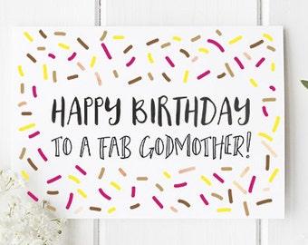 Birthday Card Godmother / Birthday Card for Godmother / Happy Birthday to a Fab Godmother