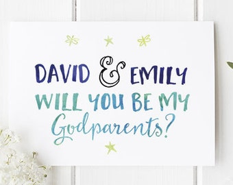 Godparents card etsy personalised godparents card will you be my godparents a lovely godparents card to ask a special question beautiful a6 greetings card m4hsunfo
