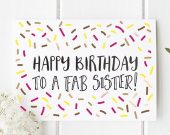 Sister Birthday Card Happy To A Fab For Cute