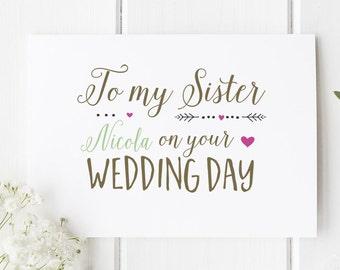 Sister Wedding Day Card Personalised / Personalised To My Sister on your wedding day Card / Wedding Card / Wedding Stationery