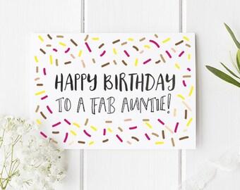 Auntie Birthday Card / Happy Birthday To A Fab Auntie / Cute card for Auntie / Aunty Card / Aunty Birthday Card