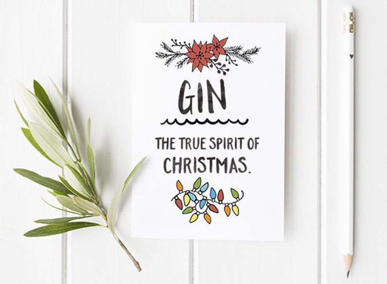 Gin Christmas Card Funny Christmas Card For Gin Lovers And image 0