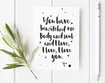 Pride and Prejudice Valentines Day Card with Literary Quote / Pride and Prejudice Quote / Literary Quotes / Jane Austen / Valentines card
