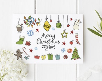 Cute Christmas Card - Greetings Card For Christmas With A Cute Theme - Great For Kids or Grown Ups! Fun Christmas Stationery For All.