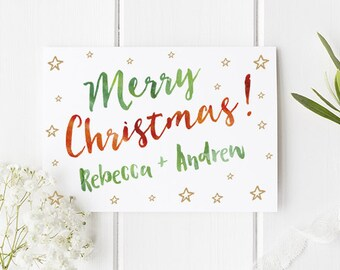 Personalised Christmas Card - Personalized Christmas Card Add up to Two Names of your choice! A truly personal way to send a card this year