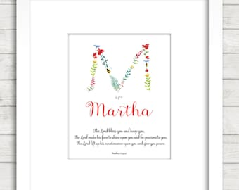 Baby Dedication blessing , baby gift, Flowers Alphabet, Numbers 6, Baby Bible Verse, Custom gift, Baby Blessing,Nursery print