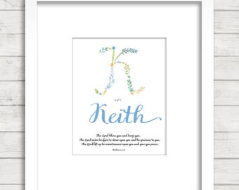 Baby Dedication blessing , blue version, custom baby gift, Flowers Alphabet, Numbers 6, Baby Bible Verse, Custom gift, Baby Blessing,