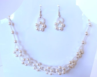 Glass pearls beaded flower necklace and earring set