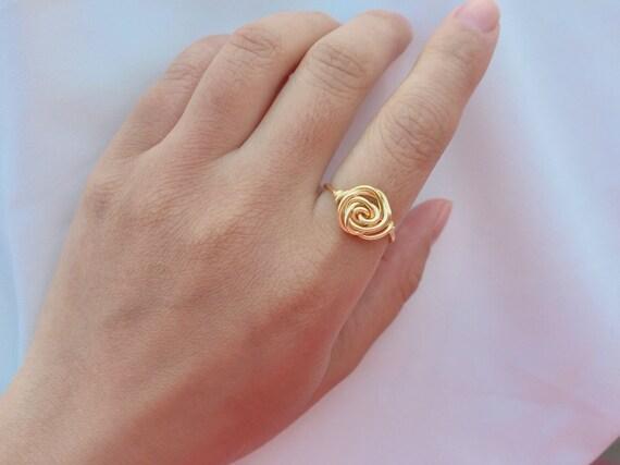 Rose Gold Ring Blumenring Draht eingewickelt Rose Ring | Etsy