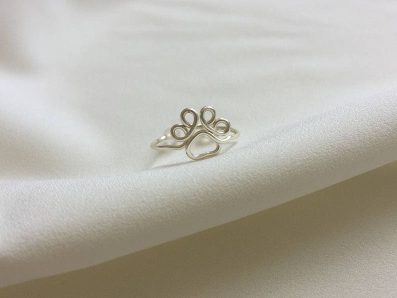 cbaf3016bde8 Anillo de huella de gato joyería de plata anillo de plata