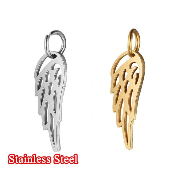 2 x  GOLD COLOUR ANGEL WING PENDANT WITH A ROSE CHARM 31 x 10mm