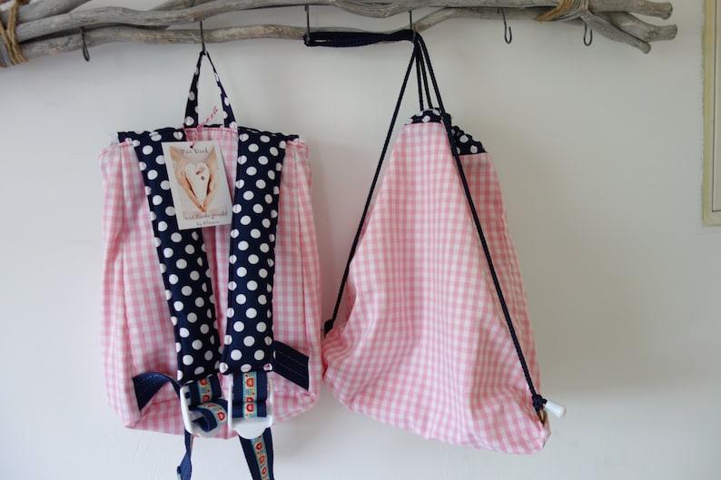 turn bag set flower with wish name Pink Kids Backpack