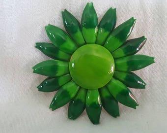 Vintage Green Brooch, Green Flower Brooch, Vintage Green Flower Pin, Flower Jewelry, Vintage Flower Brooch, Unsigned Brooch, Epsteam