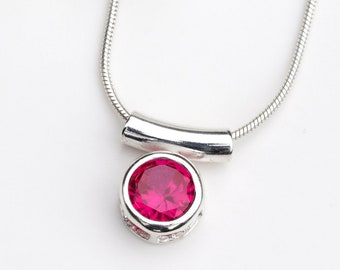 Ruby Necklace - July Birthstone - July Jewelry Jewellery - Ruby Pendant Silver - Ruby Silver Necklace - Ruby Bar Necklace - Ruby -  A73