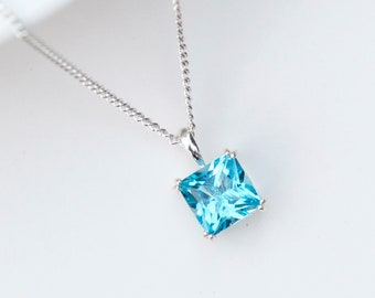925 Sterling Silver 14ky Swiss Blue Topaz Pear Shaped Chain Necklace Pendant Charm Gemstone Fine Jewelry Gifts For Women For Her