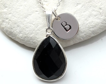 Black Onyx Necklace -  Black Onyx -  Initial Necklace - Black Onyx Pendant - Black Onyx  Silver Necklace - Black Onyx Teardrop  - A36
