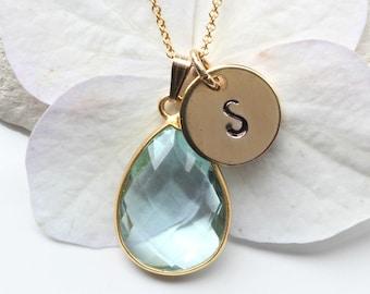 Aquamarine Necklace - Aquamarine Gold - Aquamarine Jewellery Jewellery - March  Birthstone - Aquamarine Personalised Initial Necklace  - A38