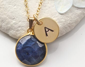 Sapphire Necklace - Initial Necklace - Sapphire Gold Necklace - Sapphire Jewelry Jewellery - September Birthstone Necklace  - A28