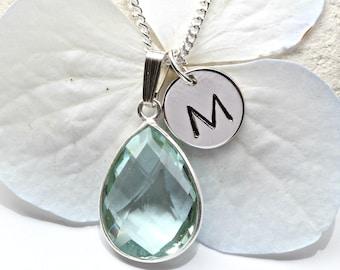 Aquamarine Necklace  - Aquamarine Initial Necklace Silver -  March Birthstone  -  Aquamarine Pendant - Aquamarine Jewelry Jewellery  - A39