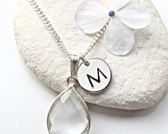 Clear Crystal Necklace - Sterling Silver Necklace - Personalised Initial Jewellery - April Birthstone - April Jewelry - Diamond Necklace  A5