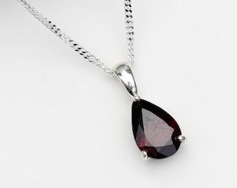 Garnet 2nd Anniversary Garnet Necklace January Birthstone Necklace Garnet Pendant Silver Real Garnet 000 Garnet Jewelry Jewellery