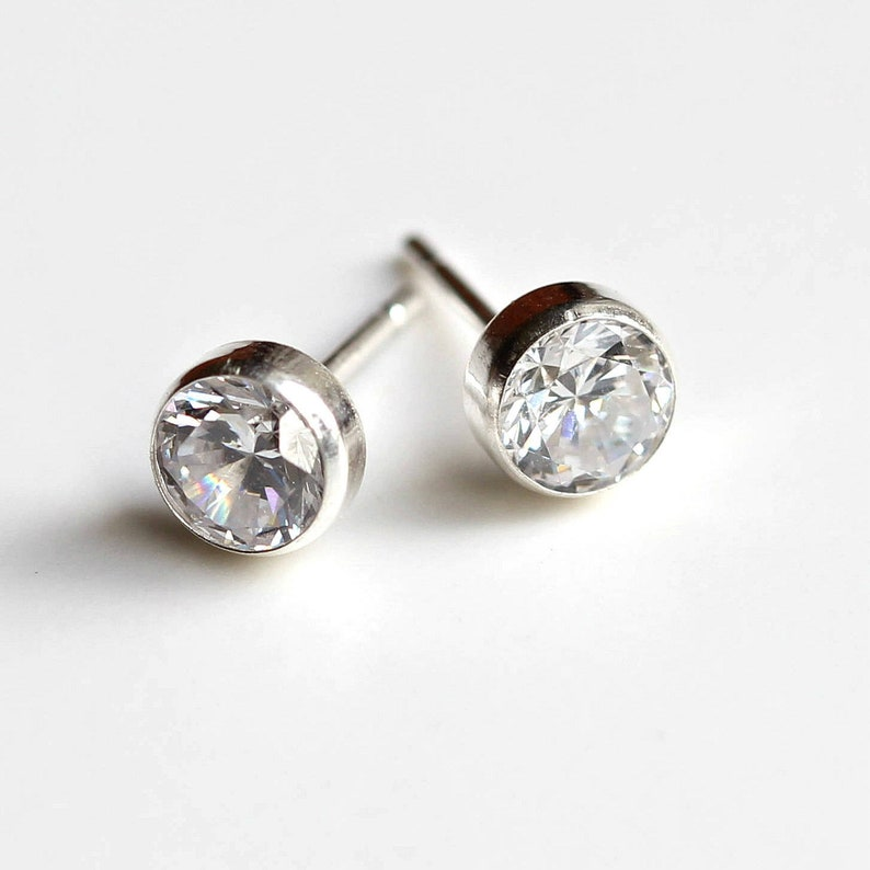 e4c170682eae6 9ct White Gold Stud Earrings /Cubic Zirconia White Gold Earrings/4mm 5mm  6mm 7mm White Gold Stud Earrings /April Birthstone Earrings/ C45