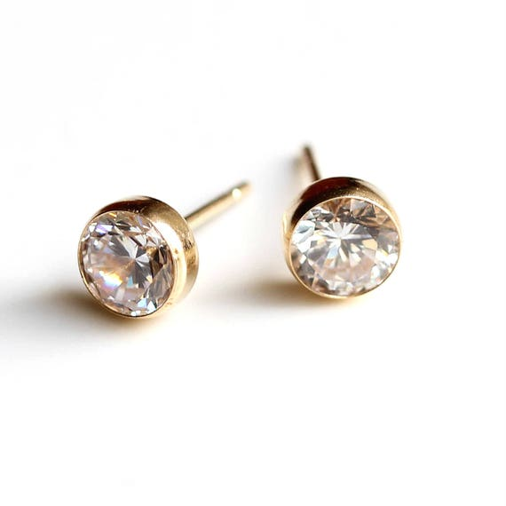 9ct Yellow Gold Filled Clear Cubic Zirconia CZ Stud Drop Earrings Gift Idea  430