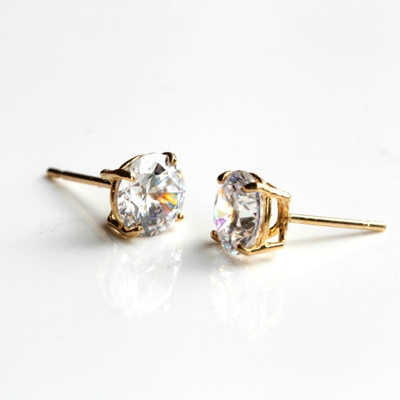 9ct gold stud earrings 4 mm clear round CZ/'s post and backs 9ct gold also