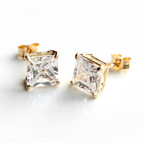 Stud Earrings 3-5mm 9ct Solid Yellow Gold Cubic Zirconia CZ Crystal Studs