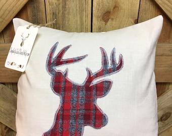 Deer Head Plaid Pillow Cover
