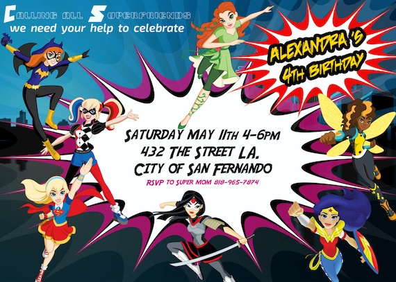 Superhero Girls Party Invitations Dc Super Hero Girls Etsy
