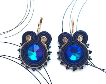 Navy Earrings, Navy Blue Earrings, Wedding Earrings, Navy Gold Earrings, Sparkling Soutache Earrings, Soutache Jewelry, Shabby Chic Earrings