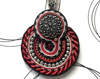 Round Pendant, Silver Black Red Necklace, Goth Jewelry, Statement Pendant, Big Pendant, Handmade Birthday Gift For Her
