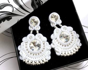 Wedding Jewelry, Wedding Earrings, White Earrings, Large Earrings For Wedding, Bridal Jewelry, Bride Stud Earrings, White Elegant Earrings