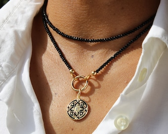 Black Onyx Wrap Necklace with Black Enamel and cz Pendant, Long necklace, Layering necklace, Enamel medallion, Coin necklace,