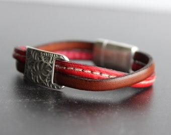 Delicate Leather Bracelet, Double Strand Bracelet, Cuff Bracelet, Red and Brown bracelet, Palm tree leaves slider, Silver plated element
