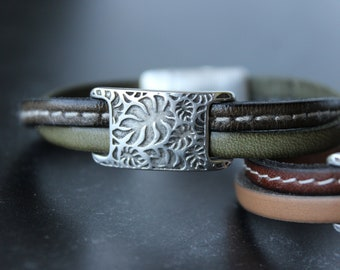 Delicate Leather Bracelet, Double Strand Bracelet, Cuff Bracelet, Army green  bracelet, Palm tree leaves slider, Silver plated element, cuff