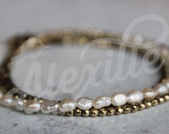 Dainty Triple Wrap Tiny White Pearls bracelet, Pearl bracelet, Classic jewelry, Wrap bracelet, Chic and Elegant bracelet, Classy jewelry