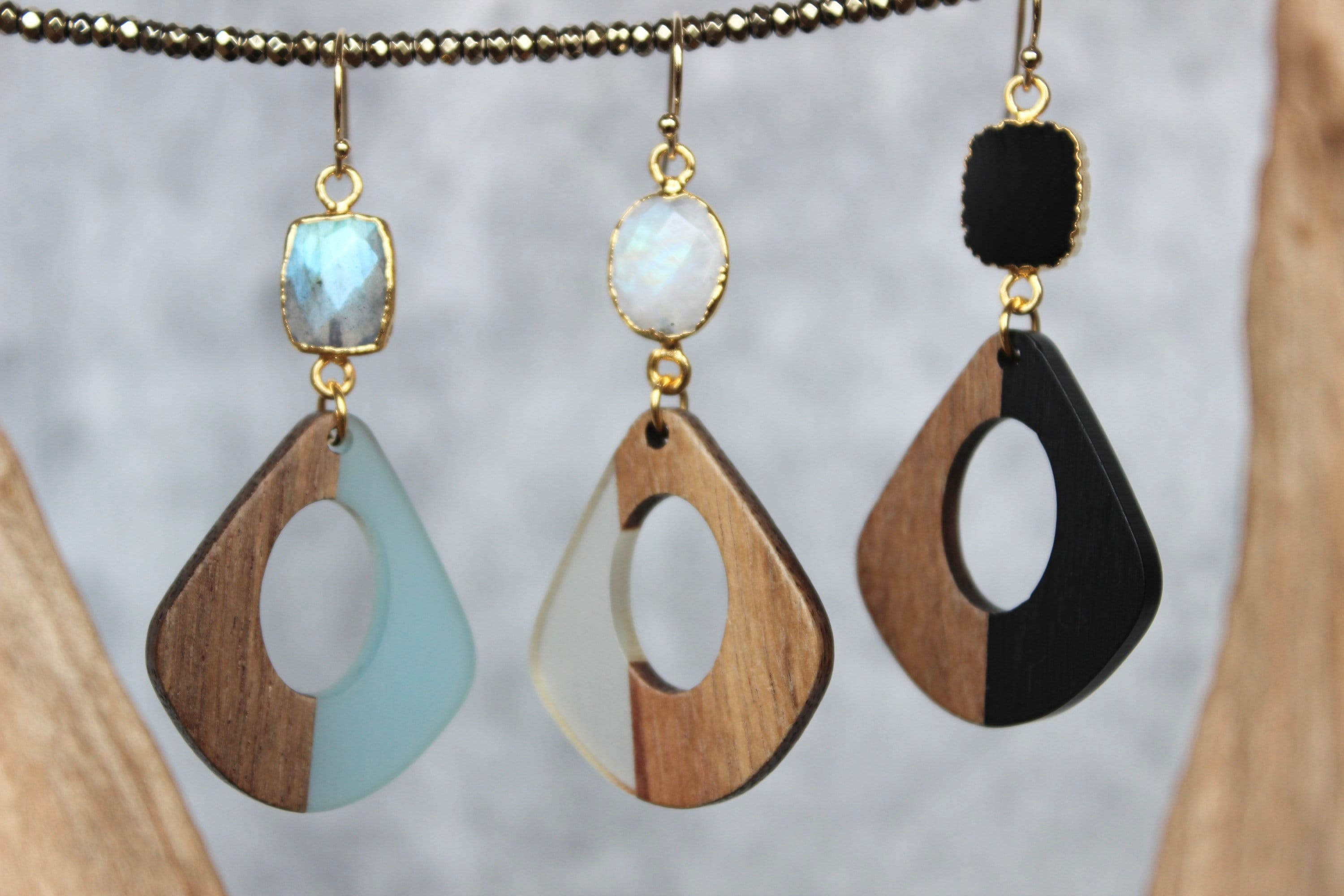 Wood and Resin Earrings with a stone dangle
