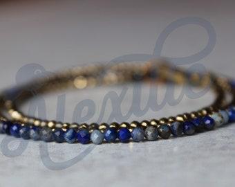 Dainty Triple Wrap Pyrite and Lapis Lazuli bracelet, Lapis jewelry, Tiny Matte beads, Wrap bracelet, Blue bracelet, Delicate bracelet