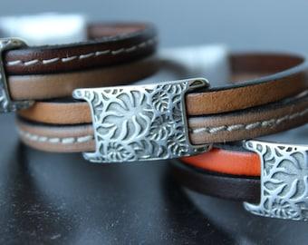 Delicate Leather Bracelet, Double Strand Bracelet, Cuff Bracelet, Beige and brown bracelet, Palm tree leaves slider, Silver plated element