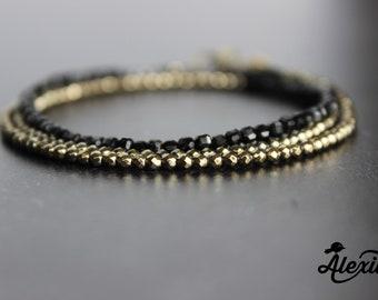 Dainty Triple Wrap Pyrite and black Onyx bracelet, Black beaded jewelry, Tiny beads, Wrap bracelet, Delicate bracelet