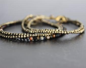 Dainty Multiple Wrap Pyrite and Pietersite bracelets, Pyrite beads, Wrap bracelet, Healing stone, Orange bracelet, Delicate bracelet, Beaded