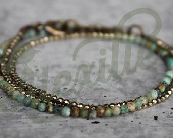 Dainty Triple Wrap Pyrite and Turquoise bracelet, Turquoise jewelry, Tiny Matte Turquoise beads, Wrap bracelet, Southwestern jewelry, Boho
