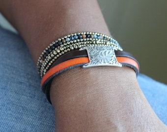 Delicate Leather Bracelet, Double Strand Bracelet, Cuff Bracelet, Burnt orange  bracelet, Longhorns fan, Austin Football, Floral bracelet