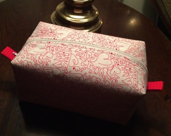 Valentine's Day Zippered Cosmetic Bag.
