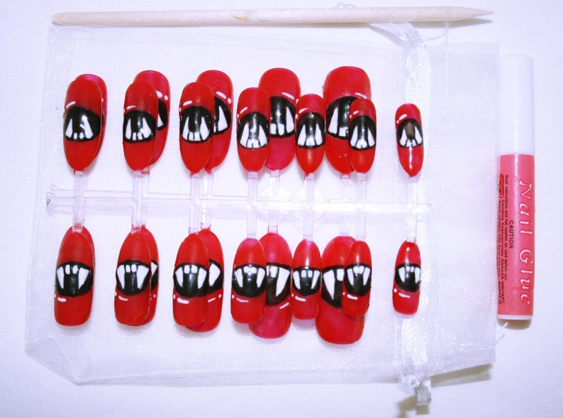 Halloween Nägel.Hand Painted Vampire Fang Halloween Long Oval False Nails Gifts For Her Halloween Nails Faux Ongles Uñas Postiza Falsche Nägel