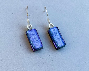 Multicoloured Square Patterned Dichroic Glass Dangle Earrings Fused Glass Jewellery 925 Sterling Silver Hook